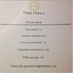 The Hall carta postres