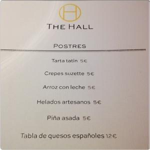 The Hall carta postres