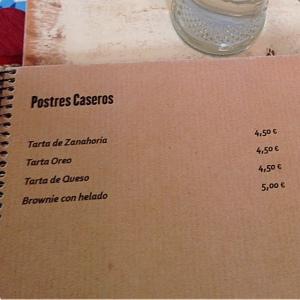 VACACIONES Bar Carta postres