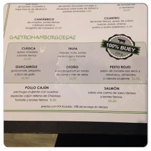 Cilantro carta hamburguesas