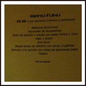 FUKU carta menú II