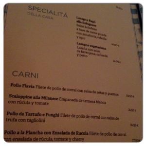 FLAVIA carta especialidades y carne